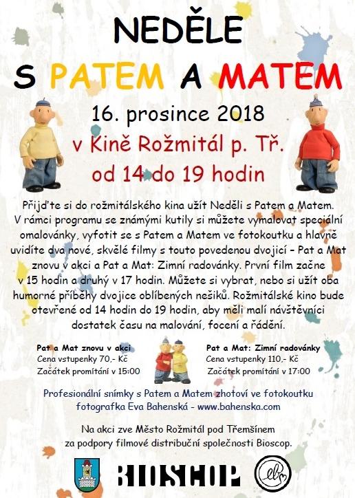 3ccc28875 V rámci programu se známými kutily Patem a Matem si můžete 16. prosince v  rožmitálském kině vymalovat speciální omalovánky, vyfotit se s Patem a  Matem ve ...